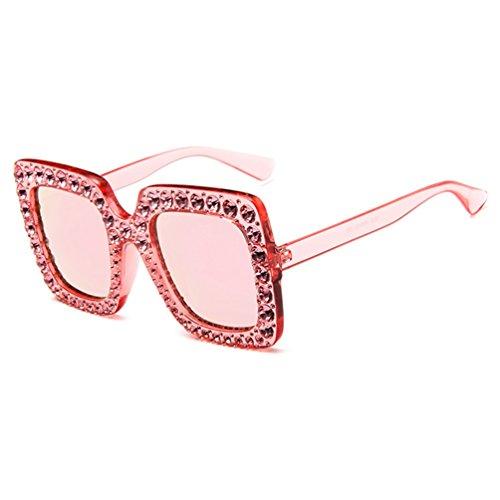 Grandes Gafas Mujer con Colores Sol LINNUO Eyewear Rojo Sunglasses Rhinestone Pink de Elegante Oversized 4tWpZnwA
