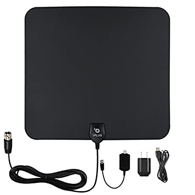 Antenna HDTV, 1PLUS Indoor Antennas 50 Miles Range HDTV Antenna Detachable Amplifier Signal Booster High Signal Capture of 13ft Coaxial Cable- 1 Year Warranty