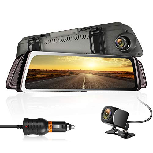 Backup Camera Mirror Dash Cam 9.66 Inch HD Touch Full Screen 1080P Front and 720P Rear Camera,170°Wide Angle Rear View Cam, G-Sensor Parking Monitor GPS,32GB TF Card,WDR Night Vision,Waterproof Cam ()