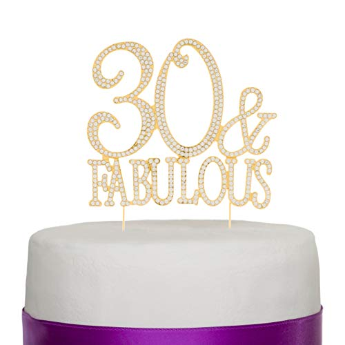 Ella Celebration 30 & Fabulous Cake Topper 30th Birthday Party Supplies Gold Decoration Toppers (Gold) ()