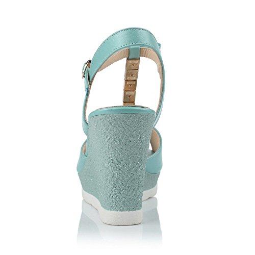AllhqFashion Mujeres Peep Hebilla Pu Material Suave Tachonado Plataforma Sandalia Azul