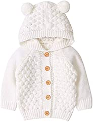 puseky Baby Boys Girls Knit Sweater Hooded Ears Warm Cardigan Coat Tops Jacket Outwear