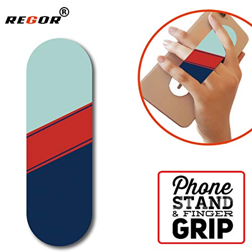 Regor Finger Grip/Selfie Holder and Mobile Stand for iPhones and Android Smartphones – Stripes (Multicolored)