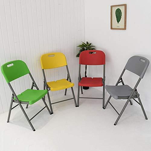 DALL hopfällbar stol ryggstöd kontorsstol stålrör datorbord stol PP-sits matstol konferensstol utomhus bärbar (färg: Gul, storlek: 4 delar)