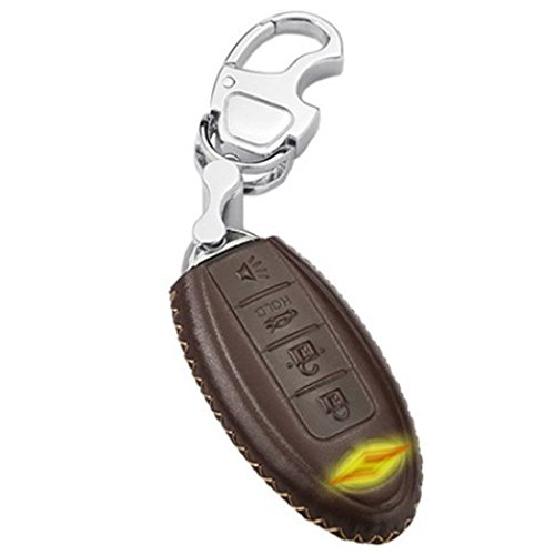 KMT Calfskin Genuine Leather Car Remote Key Fob Case Holder Cover Shell fit Infiniti qx50 jx35 q70l qx56 fx35 4-BUTTONS SMART KEY (Pack of 1) (BROWN)