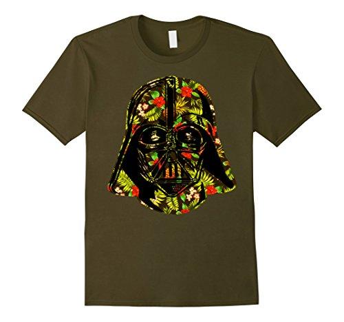 Mens Star Wars Hawaiian Print Darth Vader Helmet Graphic T-Shirt XL Olive
