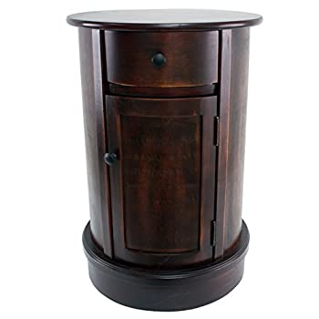 Image of Décor Therapy Round Side Table with 1-Door and Drawer, Vintage Cherry Home and Kitchen