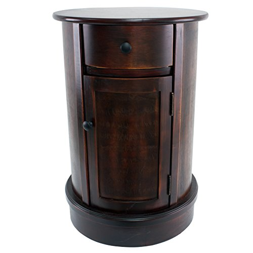 Décor Therapy Round Side Table with 1-Door and Drawer, Vintage Cherry