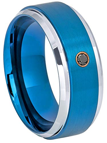 Jewelry Avalanche 0.07ct Black Diamond Tungsten Ring - April Birthstone Ring - 9MM Comfort Fit Brushed 2-Tone Blue Ion Beveled Edge Tungsten Carbide Wedding Band -5