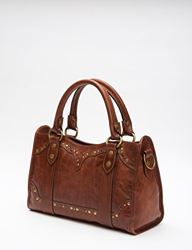 FRYE Cognac Melissa Satchel Bag Leather Stud pUFqHWrp