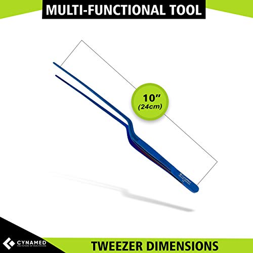 """Cynamed 10"""" Kitchen Premium Tongs Tweezers Stainless Steel, Long with Precision Serrated Tips (Blue, Bayonet)"""