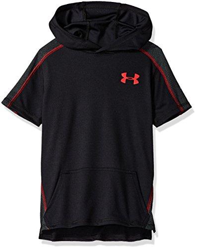 Under Armour Boys Tech Short sleeve Hoodie, Black (001)/Red, Youth Medium