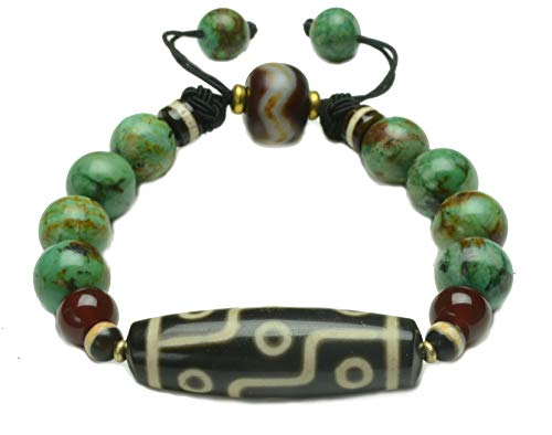 Tibetan 9 Eyed Protection Dzi Bead African Turquoise Beaded Bracelet - Fortune Feng Shui Jewelry