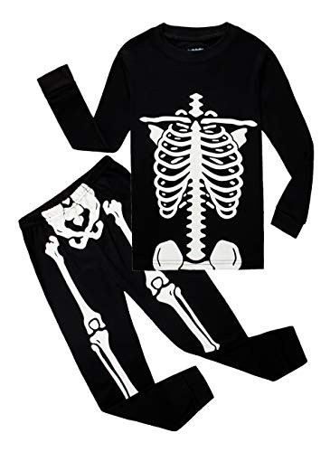 Family Feeling Little Boys Girls Golw-in-The-Dark Skeleton Halloween Pajamas Sets Long Sleeve Kids Toddler Pjs Size 2T]()