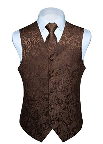 HISDERN Men's Paisley Jacquard Solid Waistcoat & Necktie and Pocket Square Vest Suit Tuxedo Set Brown from HISDERN