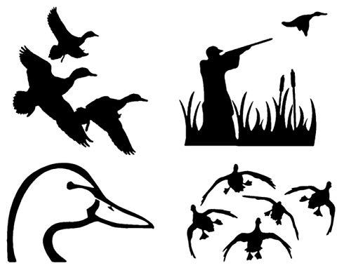 Duck Hunting Decals: Flying, Landing, Shooting, Looking (Duck_Flying_Landing_Black)