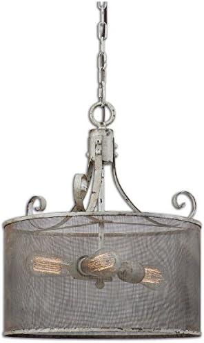 Uttermost 22004 Pontoise 3 Light Drum Pendant, Ivory