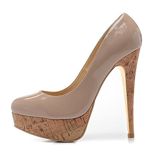 Womens Round Toe Platform Slip On Sexy Stiletto High Heel Pump Party Dress Wedding Shoes Nude gmGnreuUTH