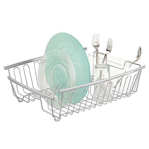 Plate Drainer (mDesign Kitchen Dish Drainer Rack for Drying Glasses, Silverware, Bowls, Plates - Silver)