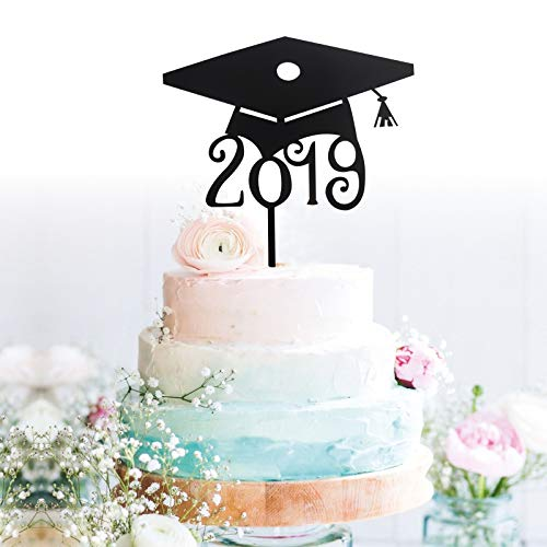 GrantParty Grad 2019 Cake Topper - Class of 2019 Graduate Party Decorations Supplies - High School Graduation, College Graduate Cake Topper with Protect Film on Both -