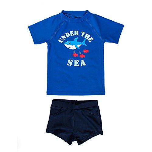 L'enfant Kids Boys Protective Two Pieces Rash Guard Set Swimwear