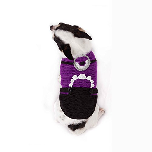 ToniMoz Purple Minion Dog Clothes, Evil Purple Minion Dog Costume, Minion Pet Clothes, Handmade Dog Clothes 82K (XXS)]()