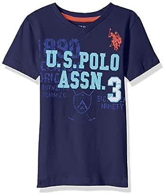 U.S. Polo Assn. Boys' Toddler Short Sleeve Solid V-Neck T-Shirt, Felt Applique Dodger Blue, 2T