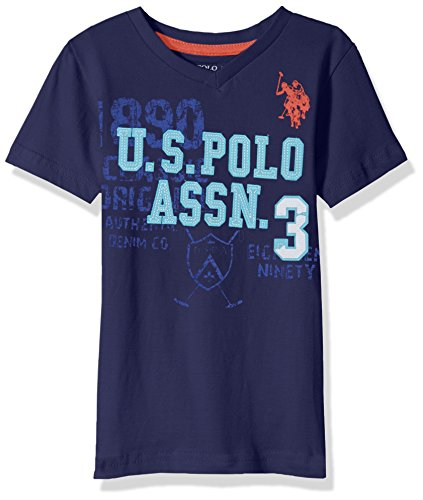U.S. Polo Assn. Big Boys' Short Sleeve Solid V-Neck T-Shirt, Felt Applique Dodger Blue, 14/16