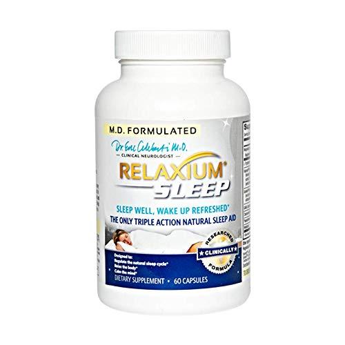 (RELAXIUM SLEEP AID-Sleeping Pills-Sleep Supplement-Natural Insomnia-Anxiety-Stress Relief-Mood-Memory-Energy Support-Melatonin-Gaba-Passionflower-Sensoril-Magnesium-Valerian-Hops-60 capsules )