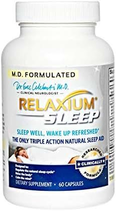 RELAXIUM SLEEP AID-Sleeping Pills-Sleep Supplement-Natural Insomnia-Anxiety-Stress Relief-Mood-Memory-Energy Support-Melatonin-Gaba-Passionflower-Sensoril-Magnesium-Valerian-Hops-60 capsules