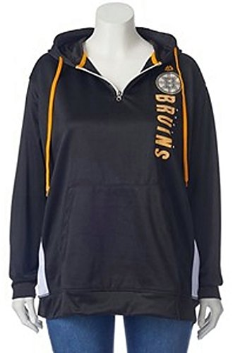 Hood Athletic Majestic (Majestic Athletic Boston Bruins NHL Womens Rising 1/4 Zip Pullover Hoodie Black Plus Sizes (1X))