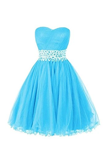 LanierWedding Women's Sweetheart Short Bridesmaid Dresses Homecoming Dresses 2016 Ice Blue Size 10 (Ice Blue Contacts)