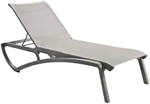 Grosfillex US246289 Sunset Chaise Lounge, Stackable, Platinum Gray Frame, Solid Gray Sling Case of 2