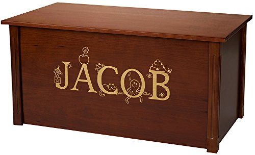 herry Toy Chest, Personalized Thematic Font, Custom Options (Cedar Base - Gold Lettering) (Personalized Handcrafted Toy Chest)