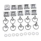 Baoblaze Silver Fairing Dzus Quick Release Fasteners 17mm D-Ring ¼ Turn w/Clip Fiberglass Rivets x10