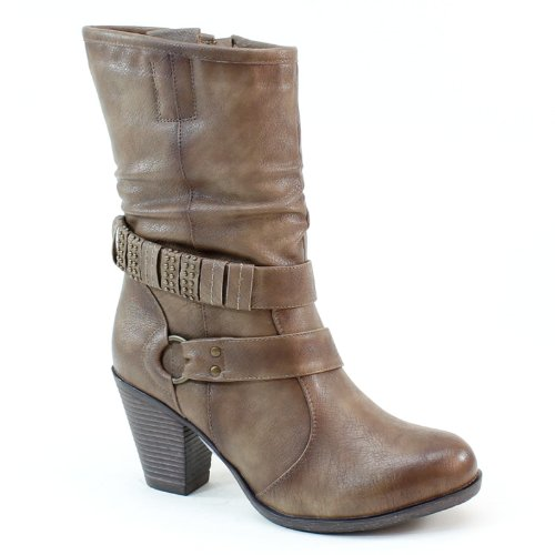 New Brieten Women's Studded Middle Heel Wide Calf Slouch Ankle Boots