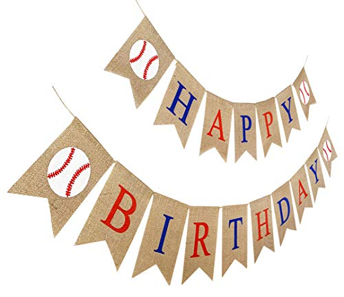 Burlap Baseball Happy Birthday Banner, Jute Baseball Party Sign, Pre Stung Bday Bunting Decoration ()