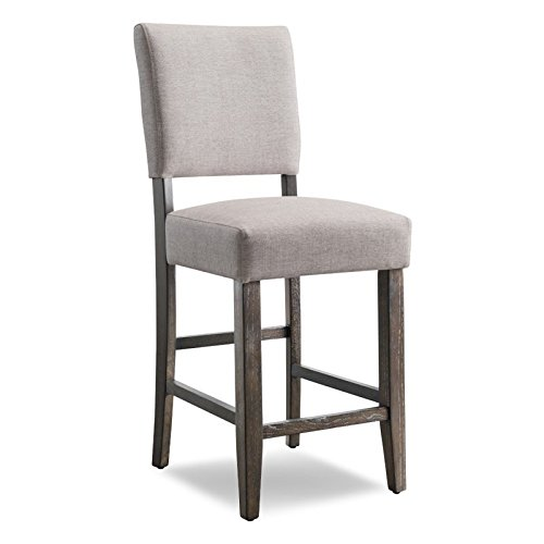 Leick Wood Upholstered Back Counter Height Barstool, Heather Grey Seat, Set of 2 (Padded Counter Height Bar Stools)