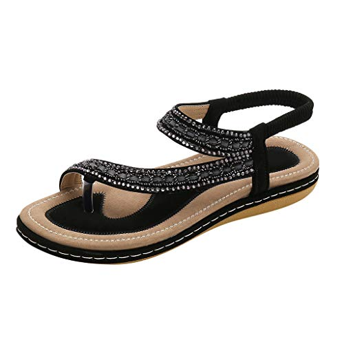 KLGDA Women Beach Wear Flat Sandals Glitter Shoes Holiday Rhinestone T-Strap Bohemian Flip Flops - Bratz Glitter