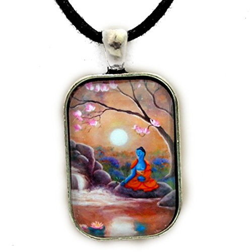 Medicine Buddha Waterfall Moon Earthy Handmade Pendant Zen Cord Necklace Tibetan Buddhist Jewelry for Men