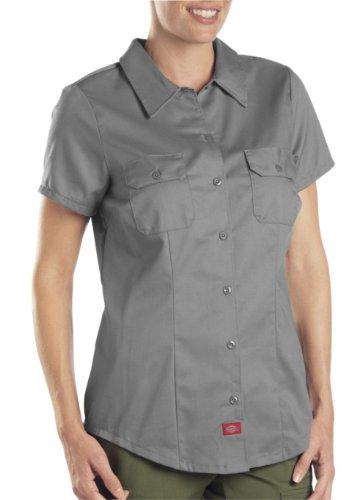 Dickies Women's Short-Sleeve Work Shirt, Gray, Large (Dickies Work Womens)