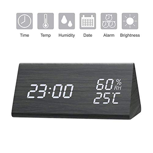 GEEKERS, Wooden LED Clock with Triple Alarms, 3 Levels Brightness Dimmer, Big Digit Display Date, Temperature and Humidity for Home Bedrooms, Black