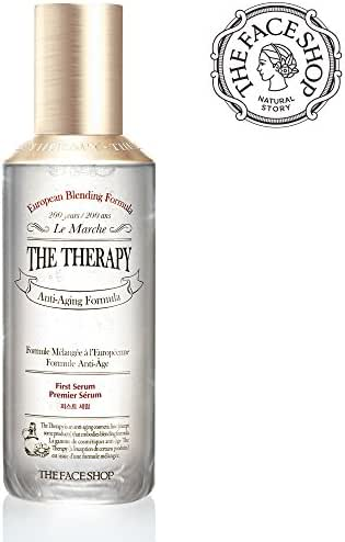 [THEFACESHOP] Anti Aging Face Toner, [The Therapy First Serum Essense] Natural Botanical Ingredients/Anti Wrinkle Care Hydrating Facial Serum with Green Tea Cotton Pads (30 pcs) - 130 mL/4.3 Oz