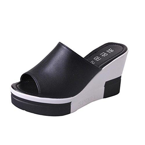 Flip Flop Glue - Summer Wedges Sandals Peep-toe Roman Shoes Sandals Ladies Flip Flops Jushye (39, Black)