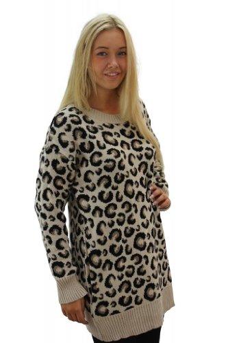Girltalkfashions Women's Leopard Print Long Sleeve Long Jumper
