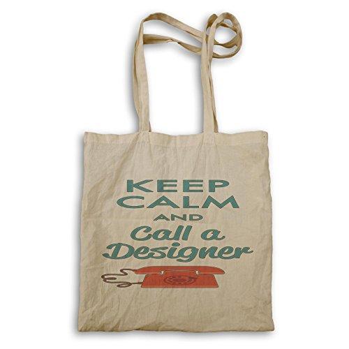 Bleib ruhig und ruf einen Designer New Funny Tragetasche d176r