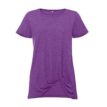 Camiseta de Manga Corta de Color Liso para Mujer.Camiseta de Manga ...