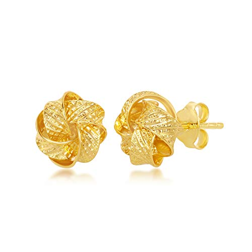 Sterling Silver Italian Gold Plated Textured Love Knot Stud Earrings