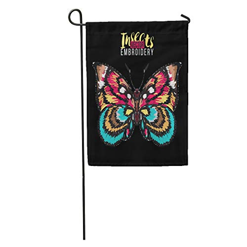 Semtomn Garden Flag Blue Simple Colorful Butterfly and Rhinestones Crystal Patch Insects Brown Home Yard House Decor Barnner Outdoor Stand 12x18 Inches ()