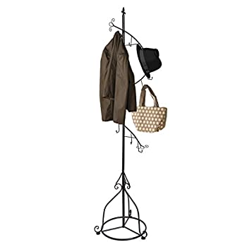 JMIles UH-CR249 Freestanding Decorative Coat Rack - Wrought Iron Decorative Freestanding Coat Rack for Home, Business, Lobby, and More (Black)